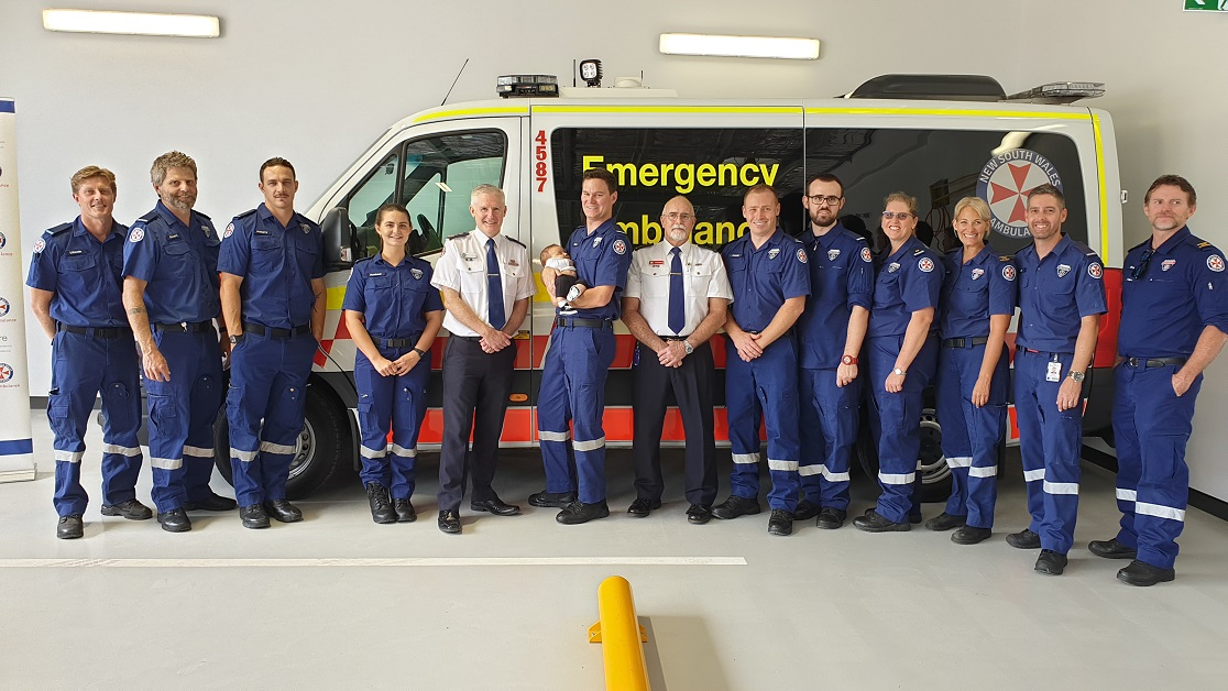NSW Ambulance Commissioner and paramedics at the Pottsville Station Opening