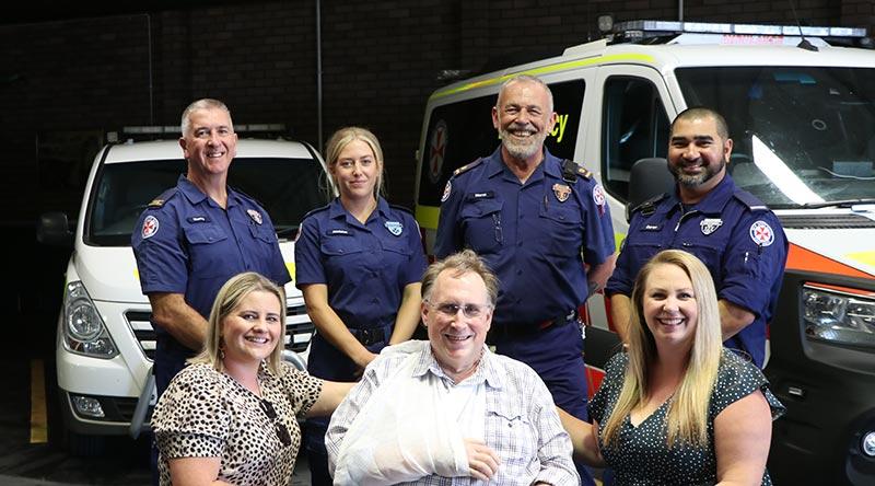 Photo of paramedics reunited with cardiac arrest survivor